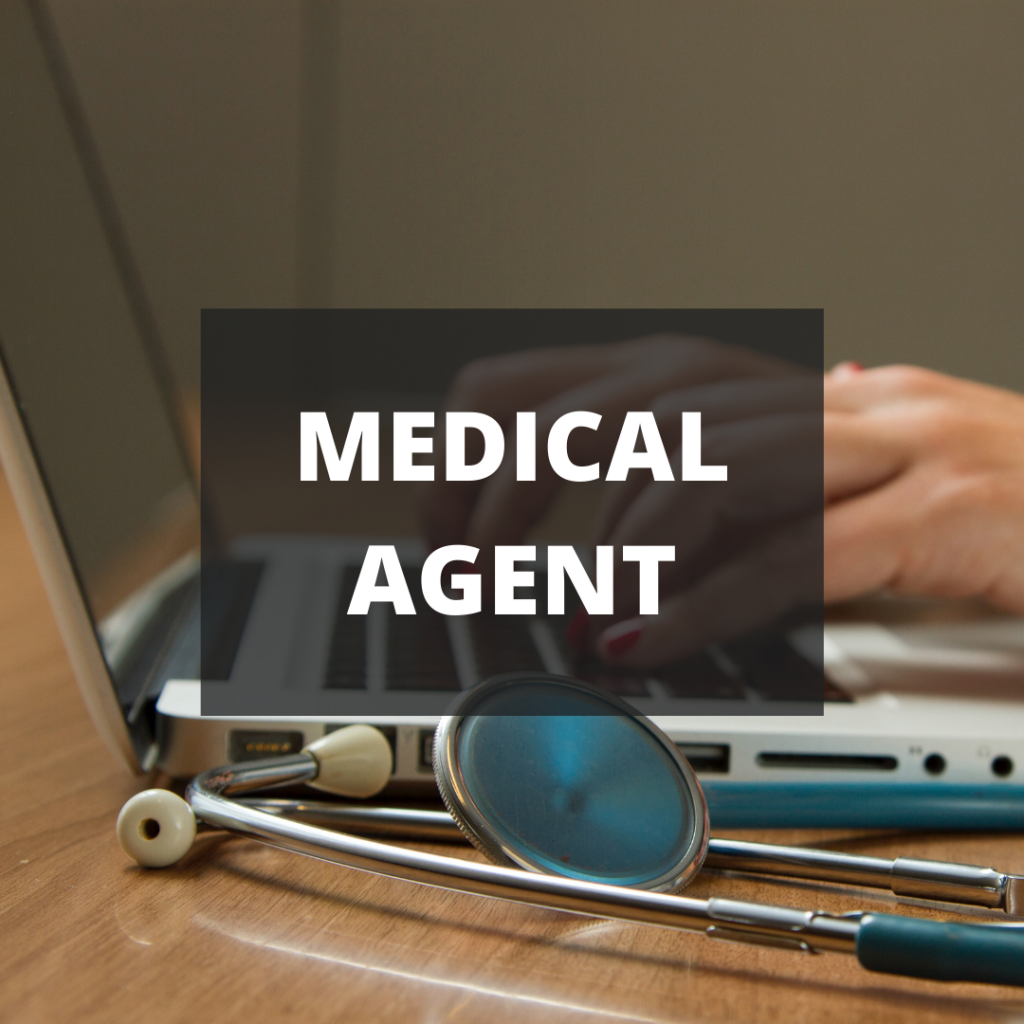 Image of a laptop and stethoscope with the words MEDICAL AGENT