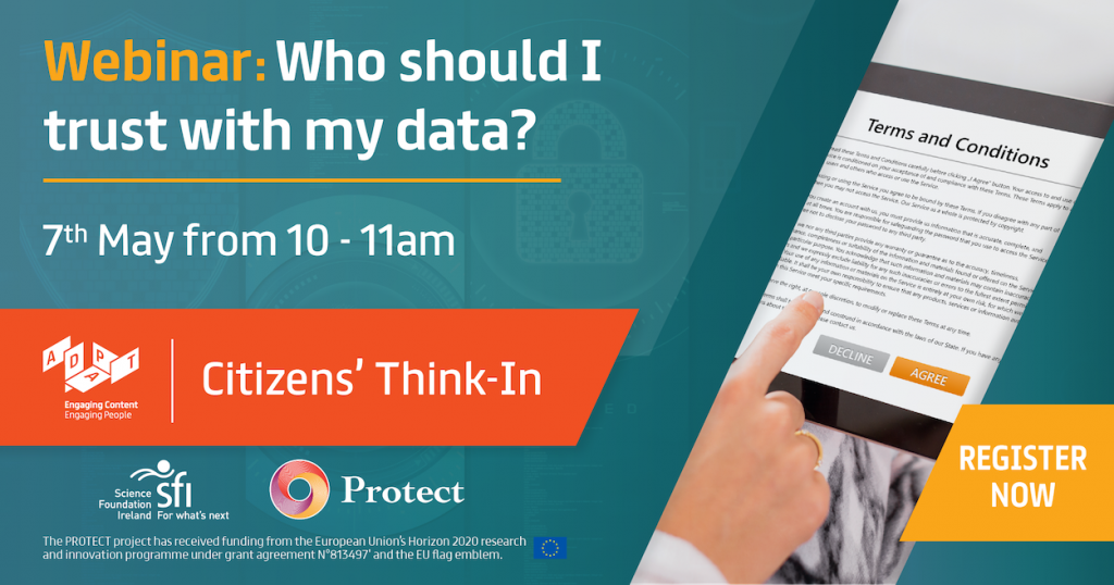 """Advertisement for an online webinar: """"Who Should I Trust With My Data?"""" takes place on 7 May 2021, 10.00-11.00"""